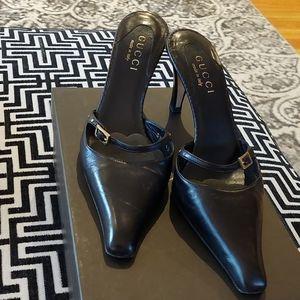 Vintage Gucci Black Leather Mules size 37